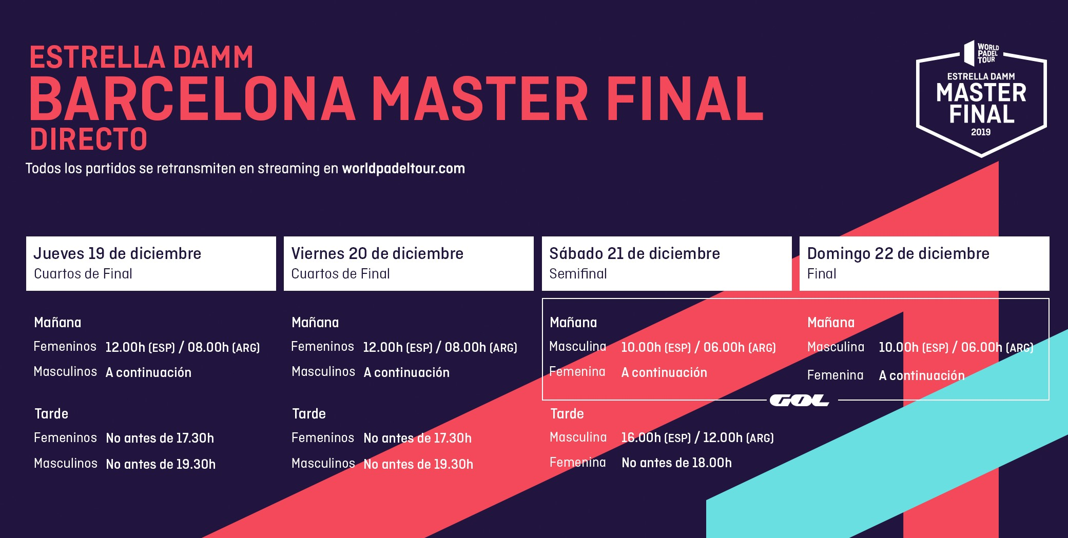 Follow Live The Final Of The Estrella Damm Master Final 2019 World Padel Tour