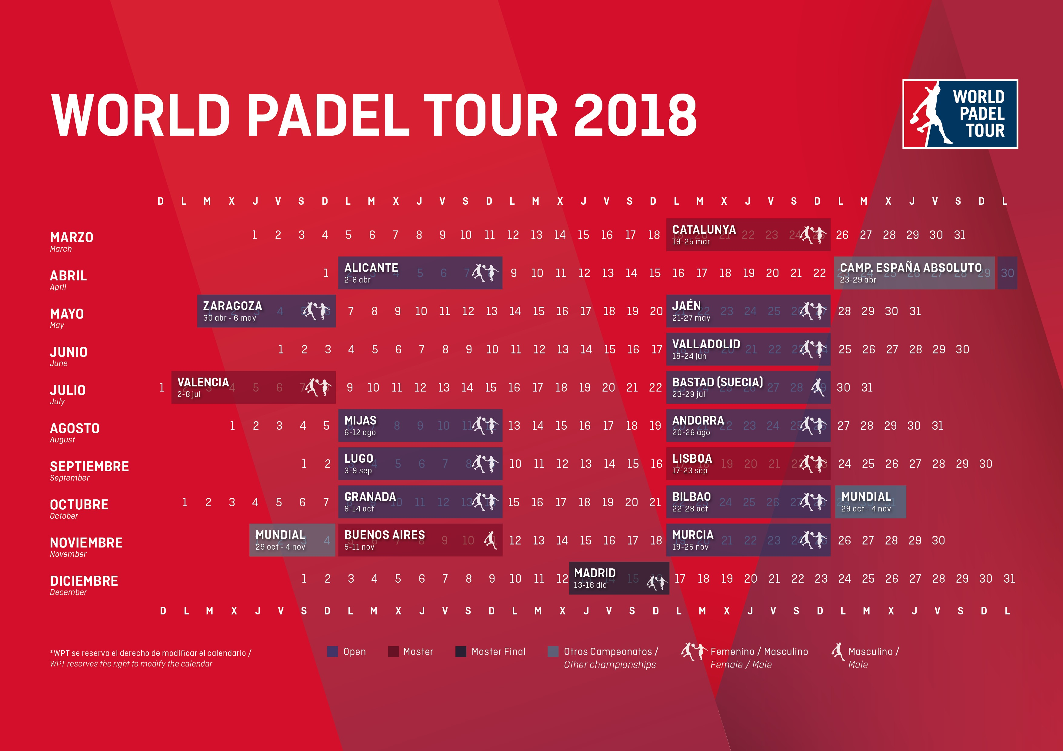 Calendario Tenis 2020.The Route For 2018 Is Announced Here Is The Calendar For The World