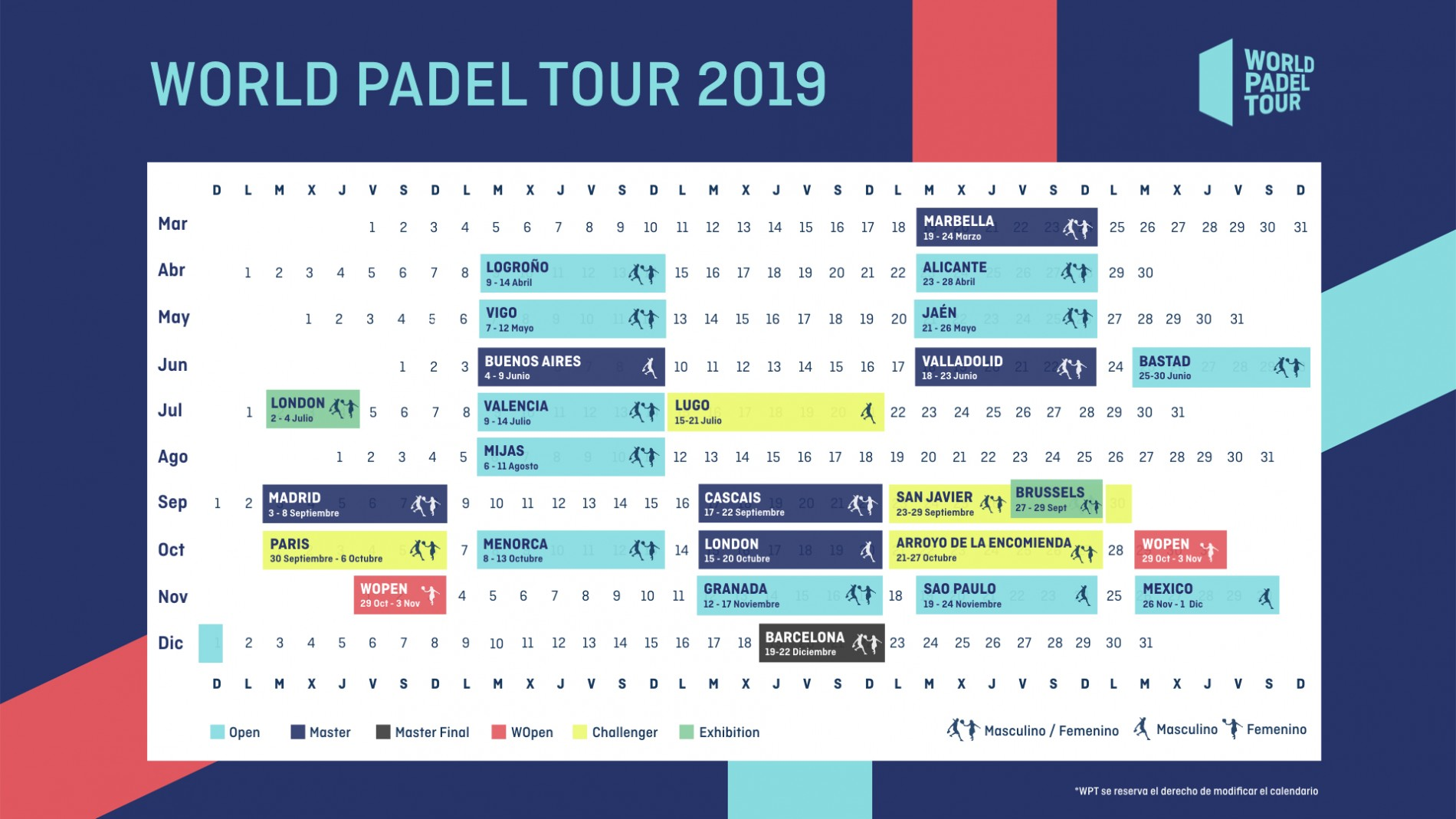 Calendario World Padel Tour.The 2019 Season Will Be The Most International In The